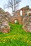 romantic view of medieval ruin of christian church Stock Photos