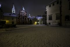 Romantic view of the night city of Prague in winter. Stock Photography