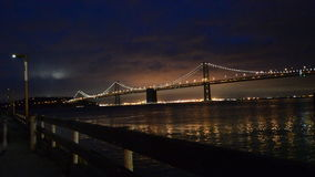 Romantic view of Oakland Bay Bridge at night stock footage