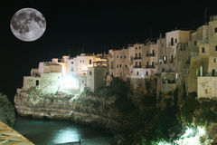 Moon on polignano Royalty Free Stock Images