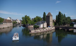 Romantic view of the river Ill - Strasbourg, France Royalty Free Stock Photos