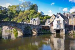 Romantic view of stone bridge Dinan France Stock Photography