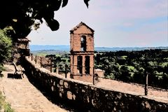 Painting of church tower in Tuscany royalty free stock photo