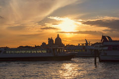 Romantic view of Venice at sunset Royalty Free Stock Image