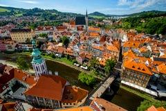 Romantic View of the Vltava river, the Bridge, Center and the Church of St. Vitus in Cesky Krumlov stock images