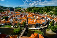 Romantic View of the Vltava river, the Bridge, Center and the Church of St. Vitus in Cesky Krumlov royalty free stock photography