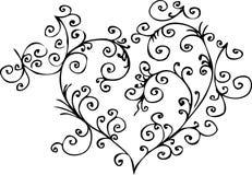 Romantic vignette. Eau-forte III. Romantic vignette. Eau-forte black-and-white swirl decorative  illustration Stock Photo