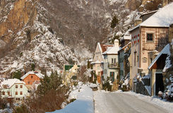 Romantic village with snow. Romantic wine-village Durnstein with snow, Danube Valley, Austria Royalty Free Stock Photography