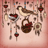 Romantic vintage background with ethnic feathers and ethnic elements. Stock Photo