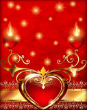 Romantic vintage background with hearts and ornament. Red velvet hearts with candles on a vertical background Valentine`s Day gree Royalty Free Stock Image