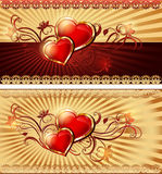 Romantic vintage background with hearts and ornament. Red velvet hearts with candles on a vertical background Valentine`s Day gree Stock Photo