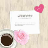 Romantic vintage banner heart, rose and coffee. Romantic vintage banner with space for text Valentines Day. A cup of coffee, a rose and heart on a light wood Stock Photography