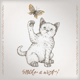 Romantic vintage birthday card template with calligraphy, kitten and butterfly sketch. Royalty Free Stock Images