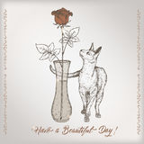 Romantic vintage birthday card template with calligraphy, cat and rose in vase sketch. Royalty Free Stock Image