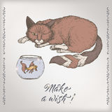 Romantic vintage birthday color card template with calligraphy, cat and goldfish sketch. Great for holiday design Royalty Free Stock Photo