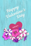 Romantic vintage card. Vertical greeting card vintage romantic Valentines Day or birthday. Bouquet of flowers of pink, purple and striped petunia with heart and Royalty Free Stock Photo