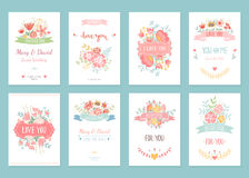 Romantic vintage cards collection Stock Images