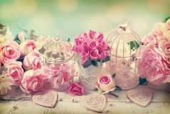 Romantic vintage love background with flowers Royalty Free Stock Photo
