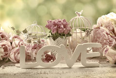 Romantic vintage love background with flowers Stock Photo