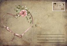 Romantic vintage postcard. Ribbon heart with rose bouquet on a vintage postcard stock illustration