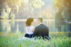 Romantic vintage sensual couple in love outdoor Stock Image