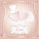 Romantic vintage style wedding invitation post card. With heart couple as bride and groom and copy space for text. Vector eps10  illustration Royalty Free Stock Photo