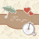 Romantic vintage Valentine invitation postcard Royalty Free Stock Photography