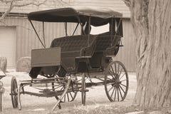 Romantic wagon ride. Antique carriage for weddings stock photos
