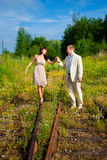 Romantic walk along the railway Stock Image
