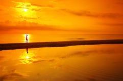 Romantic walk in beach Royalty Free Stock Photo