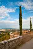 Romantic walk in Tuscany. Walk with a view on Tuscany landscape in Pienza, Italy. See more in my portfolio Stock Image