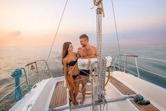 Romantic walk on the yacht. Stock Image