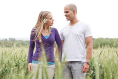 Romantic walk by a young couple Stock Photography