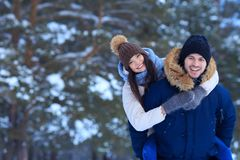 Romantic walking in winter snowy forest Stock Image