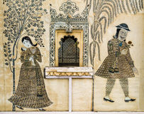 Romantic wall painting in City Palace, Udaipur, India Stock Images