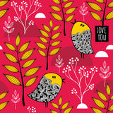 Romantic wallpaper with cute small birds on the autumn background. Stock Image