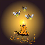Romantic warm card with Candle and fireflies Royalty Free Stock Photography