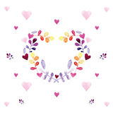 Romantic watercolor card with floral ornament vector illustration