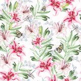 Romantic watercolor pattern with flowers lilies and berries.
