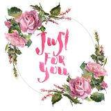 Romantic watercolor rose flowers wreath frame. Summer garden decoration Royalty Free Stock Images