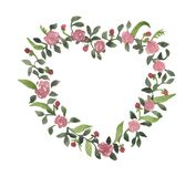 Romantic watercolor wreath, flowers of roses. In the leaves, berries made in the shape of a heart royalty free stock photo