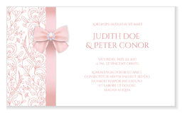 Romantic wedding announcement with pink floral orn Royalty Free Stock Images