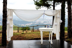 Romantic wedding arrangement and city view Royalty Free Stock Image