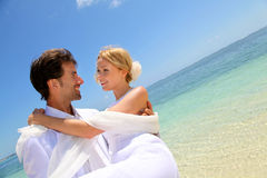 Romantic wedding by the beach Stock Images