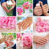 Romantic wedding collage Royalty Free Stock Photography