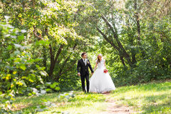 Romantic wedding couple having fun together outdoor in nature Stock Photo