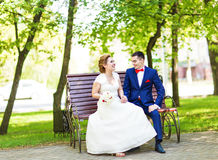 Romantic wedding couple sitting on a bench in the spring park Stock Photos