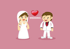 Romantic Wedding Couple Vector Cartoon Stock Photography