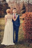 Romantic wedding couple walking in park Stock Images