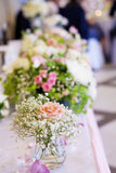 Romantic wedding decoration with pink roses  and pearls Royalty Free Stock Image